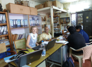 Executive Director Christine Gent working with M. Bupathy of Shilpa Trust