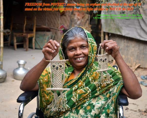 """""""Freedom from poverty means being an orphan at the age of 11, then standing on virtual feet and jumping ahead to fight all odds to touch the sky."""" - CORR - The Jute Works"""